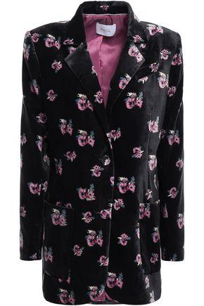 RACIL Alfred floral-print velvet blazer