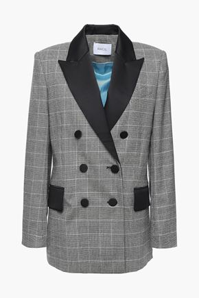 RACIL Audrey double-breasted satin-trimmed checked wool blazer
