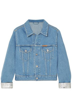 PACO RABANNE Cropped metallic-trimmed denim jacket
