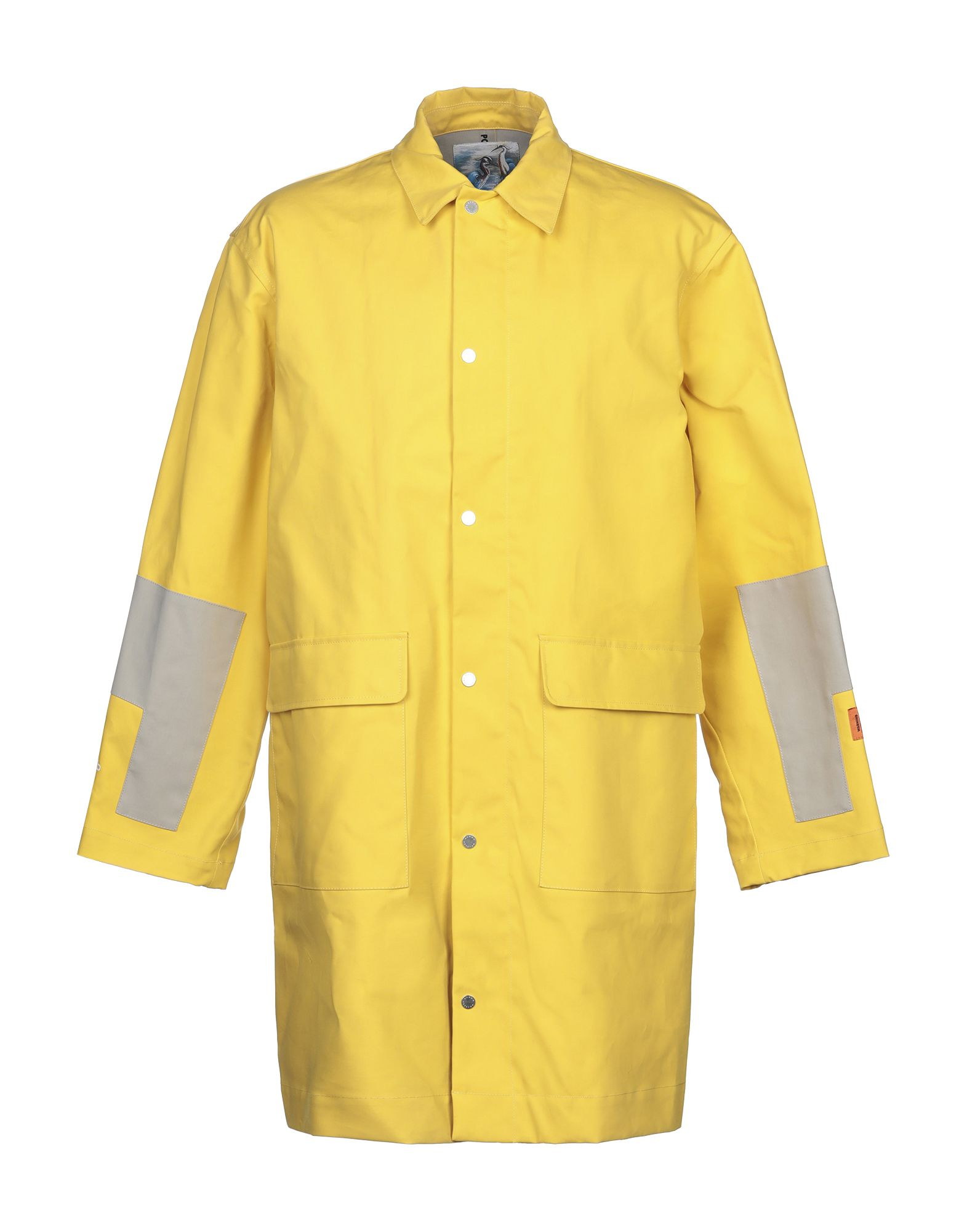 HERON PRESTON Overcoats. techno fabric, logo, solid color, single-breasted, snap-buttons, zip, classic neckline, multipockets, long sleeves, unlined. 100% Cotton