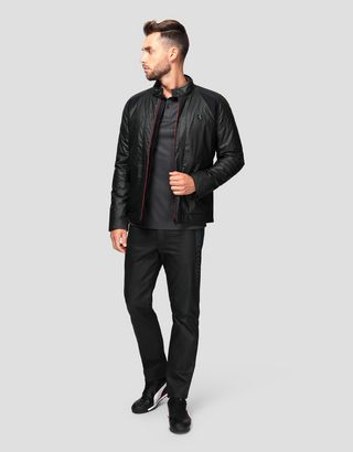Scuderia Ferrari Online Store - Men's biker jacket in HYBRID LEATHER - Biker Jackets