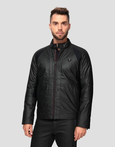 Men's biker jacket in HYBRID LEATHER