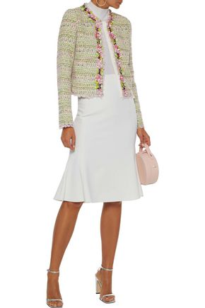 Giambattista Valli Woman Cropped Floral-appliquéd Cotton-blend Tweed Jacket Light Green