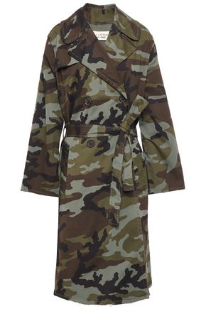 NILI LOTAN Printed stretch-cotton trench coat