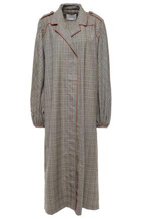 JOHANNA ORTIZ معطف من مزيج الحرير والصوف بنقش مربعات برنس أوف ويلز
