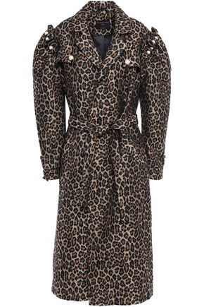 MOTHER OF PEARL Felix button-detailed ruffled leopard-print jacquard coat