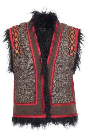 ETRO Faux shearling-lined appliquéd tweed and felt vest