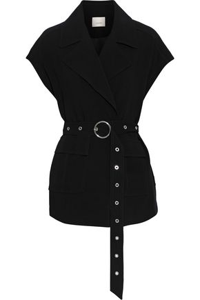 CINQ À SEPT Belted crepe jacket