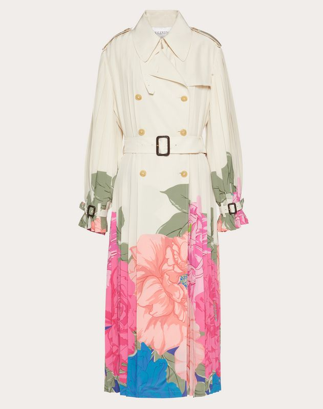 Printed Crepe de Chine Trench