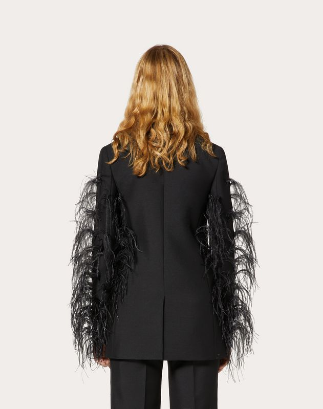 Wool and Mohair-Blend Jacket with Feather Embroidery