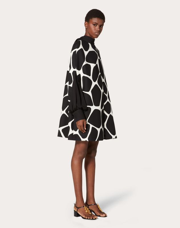 Printed Crepe Couture Cape