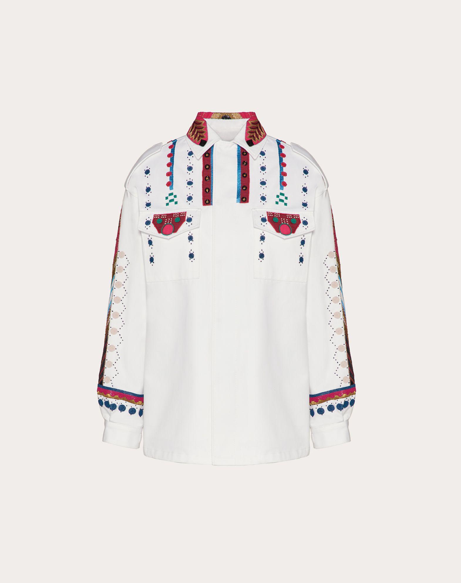 Embroidered Gabardine Pea Coat