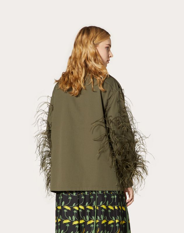 Gabardine Pea Coat with Feather Embroidery