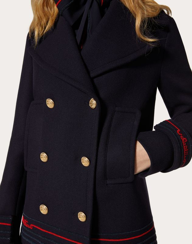 Embroidered Drill Wool Pea Coat