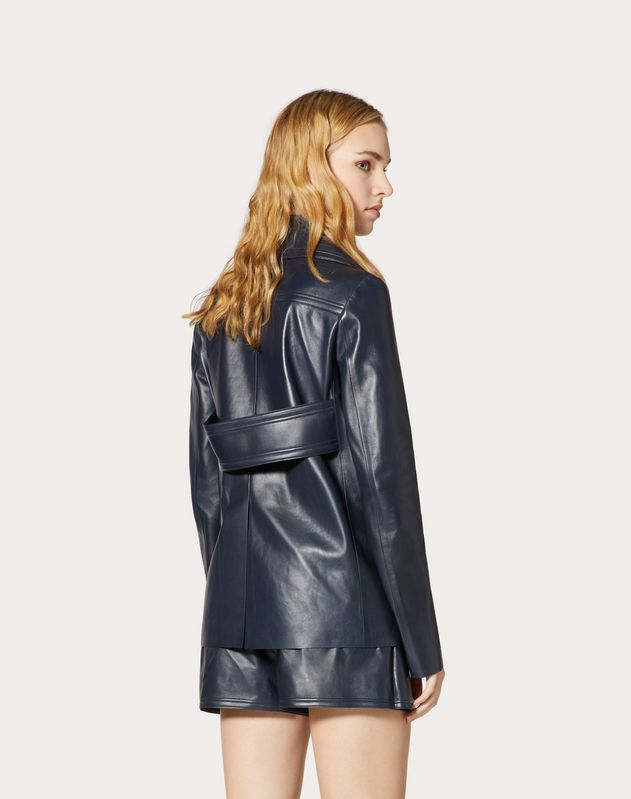 Gold V Leather Pea Coat