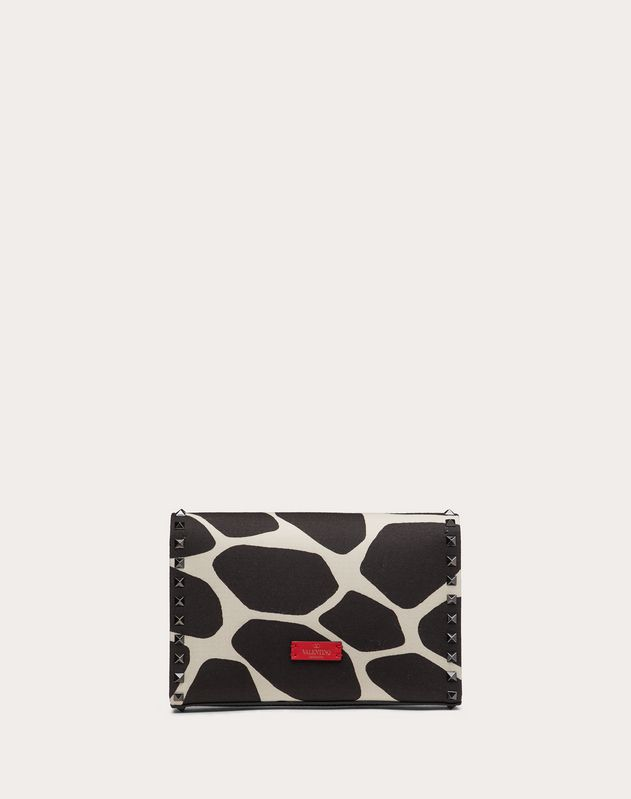 Small Rockstud Crossbody Bag in Giraffe Print Canvas