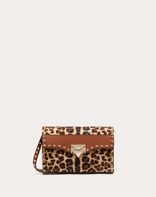 Kleine Crossbody Bag Rockstud aus Canvas mit Leoparden-Print