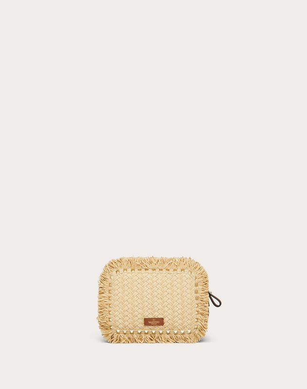 Small Rockstud Raffia Crossbody Bag