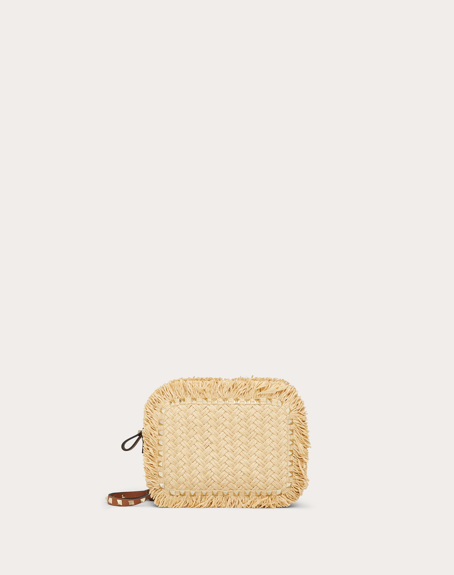 Small Rockstud Raffia Crossbody Bag