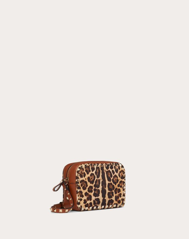 Small Rockstud Crossbody Bag in Leopard Print Canvas