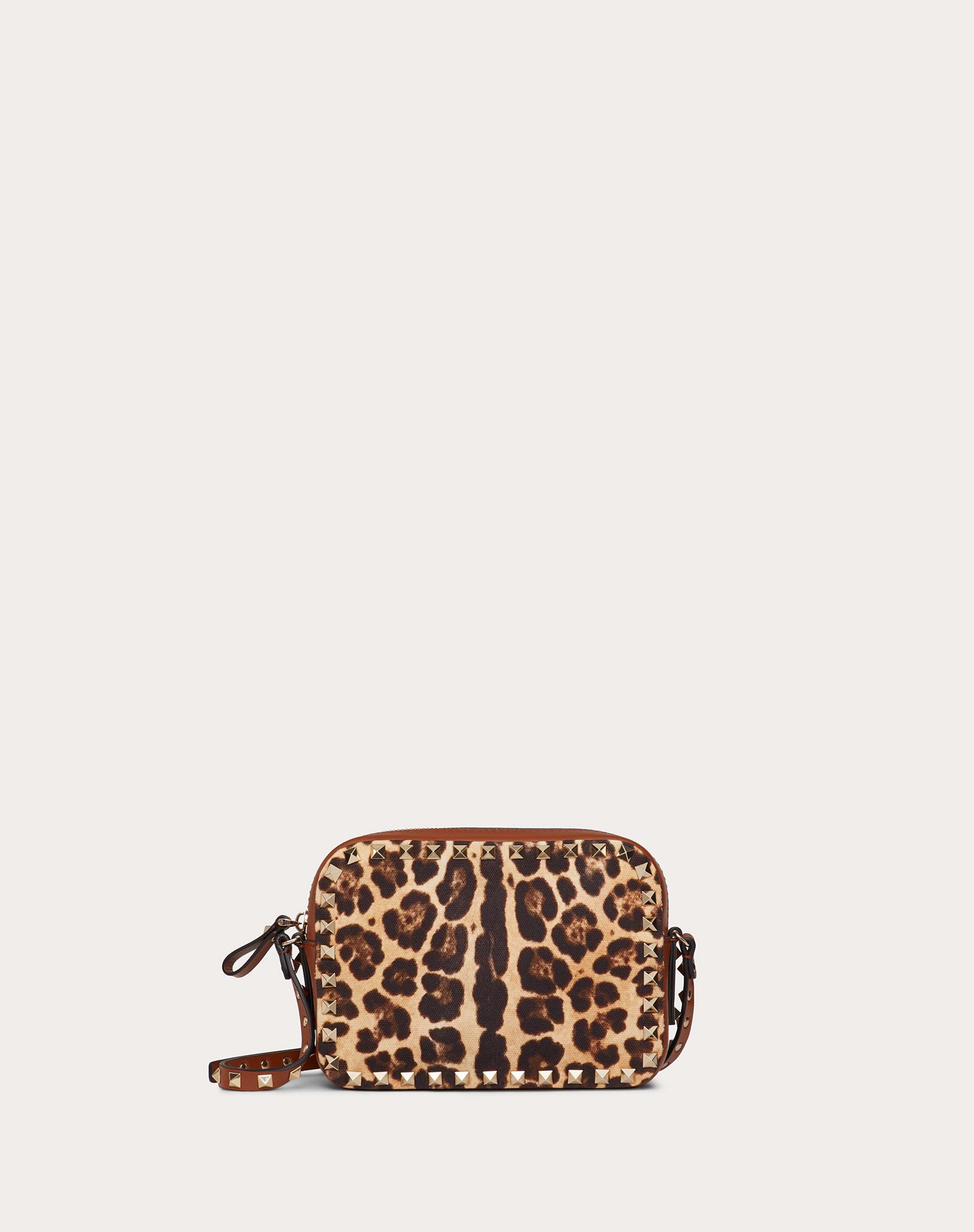 Small Rockstud Crossbody Bag in Leopard Print Canvas