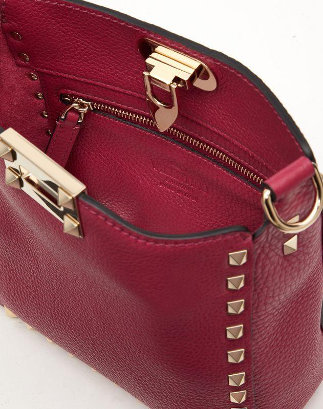 Mini Rockstud Grainy Calfskin Hobo Bag