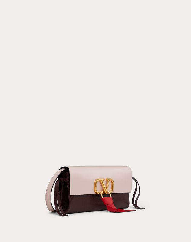VRING Crossbody Bag in Glossy Calfskin and Multicolour Buffalo Leather