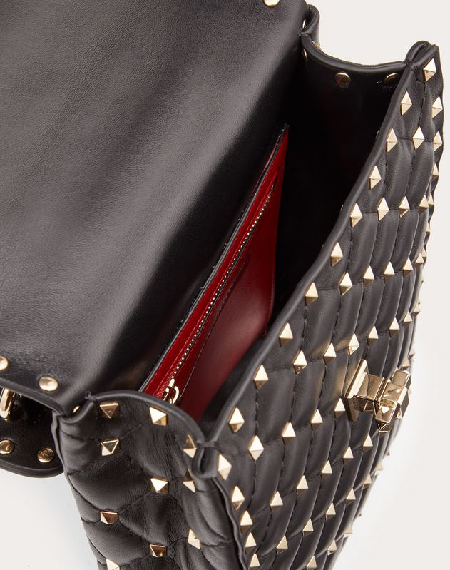 Borsa Media Verticale Rockstud Spike in Nappa