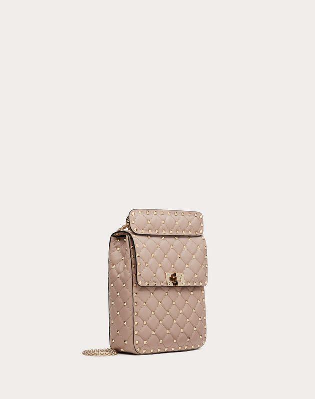 Mittelgroße vertikale Tasche Rockstud Spike aus Nappaleder