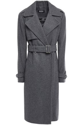 DKNY Belted brushed wool-blend trench coat