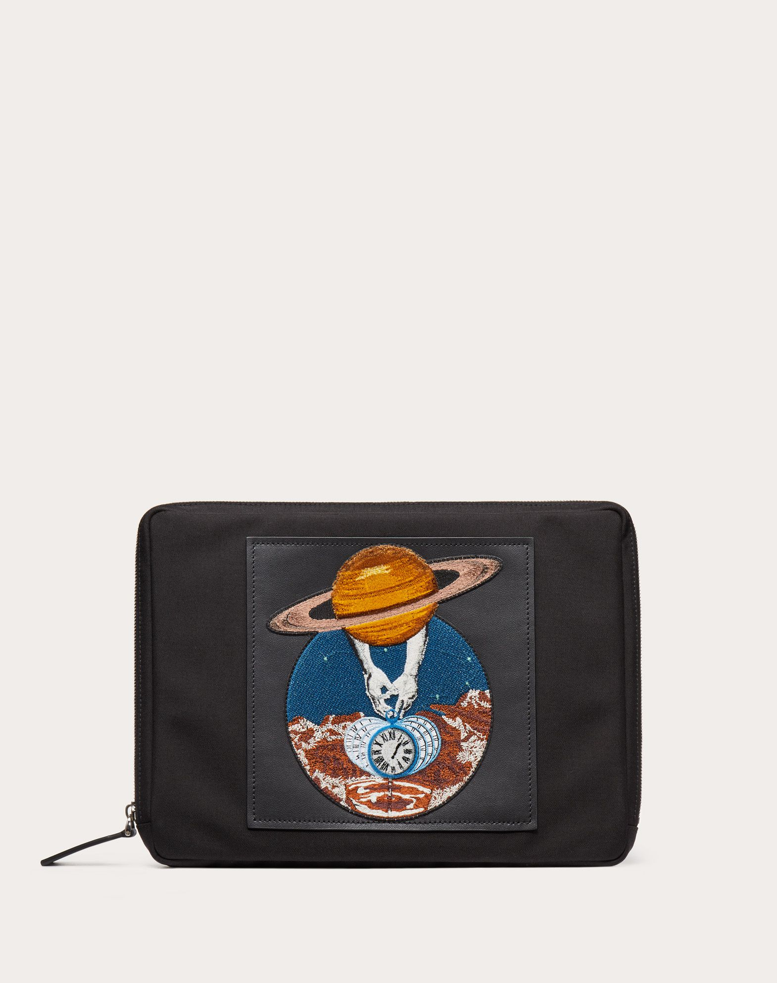 Nylon Clutch with Planet Embroidery