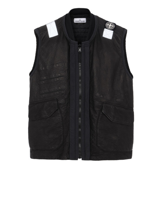 STONE ISLAND 00195 GARMENT DYED LEATHER/DYNEEMA® REVERSIBLE DETACHABLE LINING LEATHER VEST Man Black