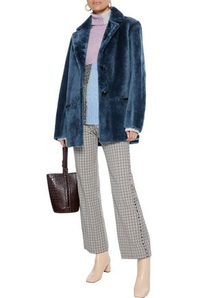 Sandro Woman Shearling Coat Petrol