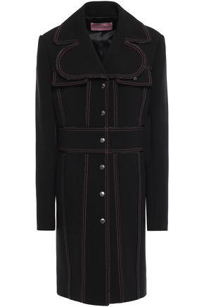 GIAMBA Patent leather-trimmed matelassé coat