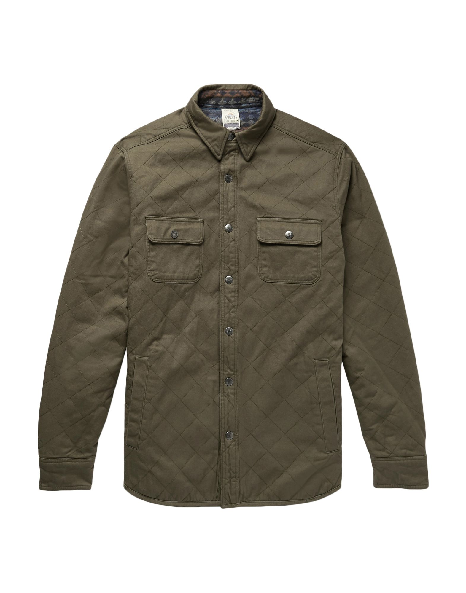 FAHERTY Jackets. twill, no appliqués, basic solid color, single-breasted, snap button fastening, classic neckline, multipockets, long sleeves, internal padding. 100% Cotton