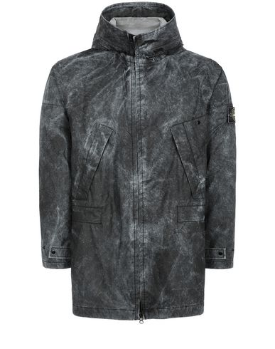 STONE ISLAND 70124 MEMBRANA 3L WITH DUST COLOUR FINISH Mittellange Jacke Herr Schwarz EUR 648