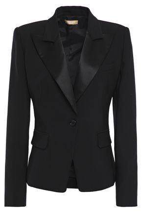 MICHAEL KORS COLLECTION Satin-trimmed wool-blend crepe blazer
