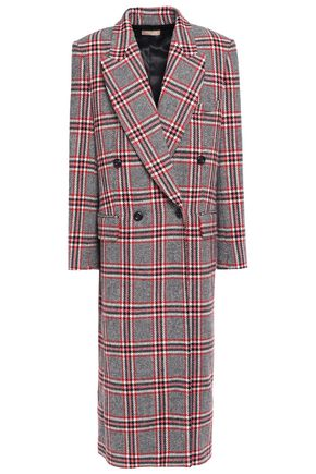 MICHAEL KORS COLLECTION Double-breasted checked wool-blend coat