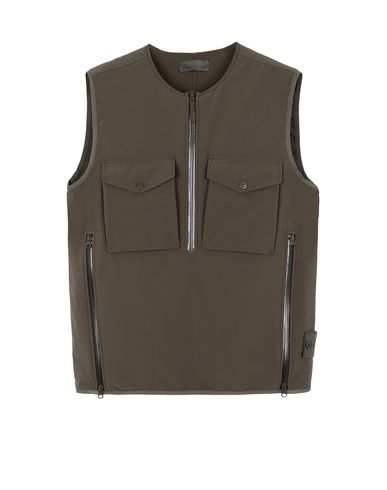 STONE ISLAND G03F1 POLIESTERE STRETCH 5 L_GHOST PIECE Waistcoat Man Military Green EUR 350