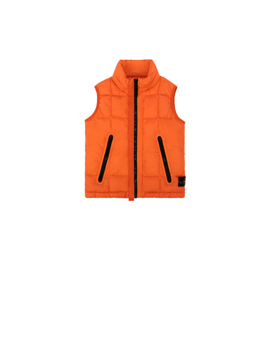 STONE ISLAND KIDS G0133 GARMENT DYED CRINKLE REPS NY DOWN   Vest Man Orange