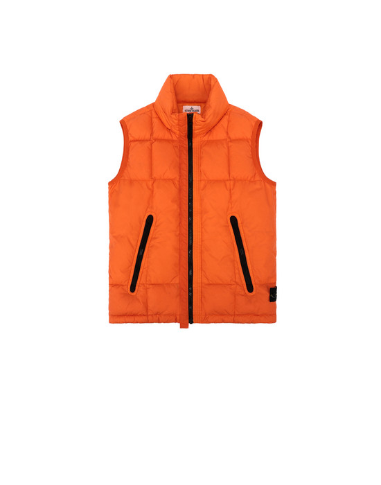 STONE ISLAND JUNIOR G0133 GARMENT DYED CRINKLE REPS NY DOWN   Vest Man Orange