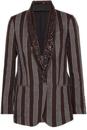 BRUNELLO CUCINELLI Sequin and bead-embellished striped linen blazer
