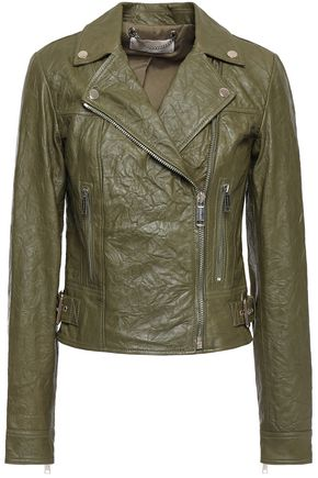 MICHAEL MICHAEL KORS Crinkled leather biker jacket