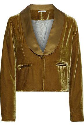 MES DEMOISELLES Marcello cropped satin-trimmed velvet jacket
