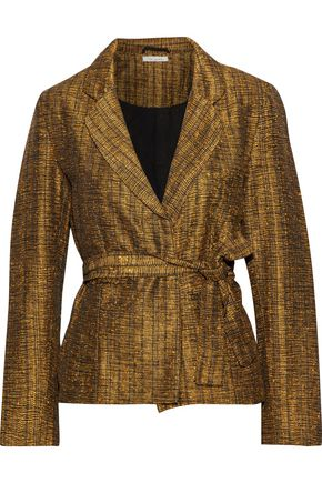 MES DEMOISELLES Sledge belted metallic tweed jacket
