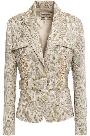 ROBERTO CAVALLI Belted lace-up snake-print jacquard blazer