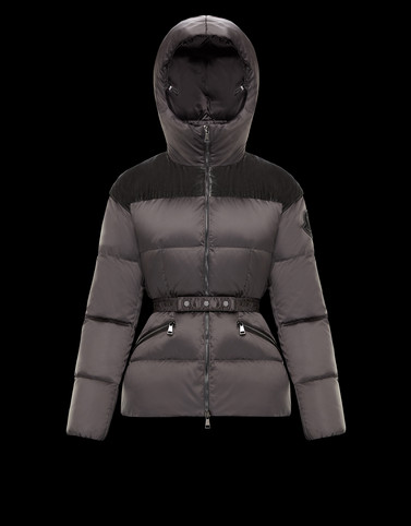 SEBOU Dark grey Short Down Jackets Woman