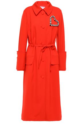 CAROLINA HERRERA Appliquéd belted stretch wool-gabardine trench coat