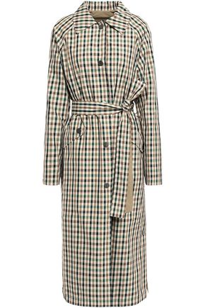GOEN.J Reversible belted gingham shell trench coat