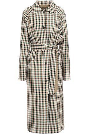 GOEN.J Reversible belted gingham shell trench coat